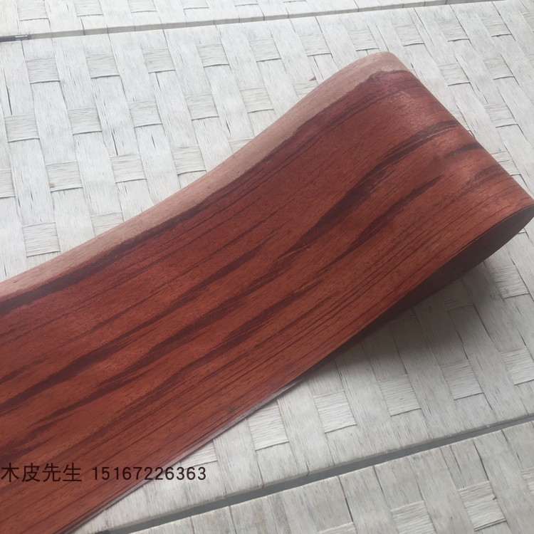 2Pieces/Lot  2.5Meter Width:16cm  Thickness:0.25mm Red Acid Straight Wood Veneer.(back Non Wovens)