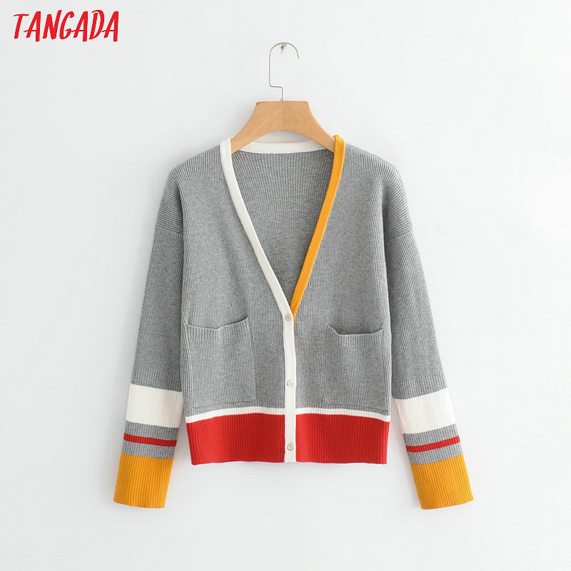 Tangada Fashion Women Color Block Sweater Cardigan Autumn Long Sleeve V Neck High Street Sweater Pockets Elegant Outwear BC11