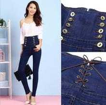 Women 's new giant measurement European and American model excessive waist denims toes pencil pants had been skinny waist denim trousers
