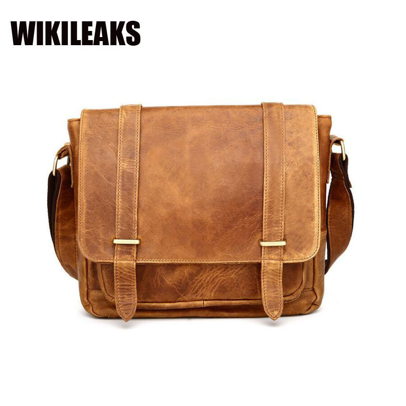 Crazy horse hide male genuine  Cow leather handbag laptop men's briefcase man messenger Crossbody shoulder vintage mens bag