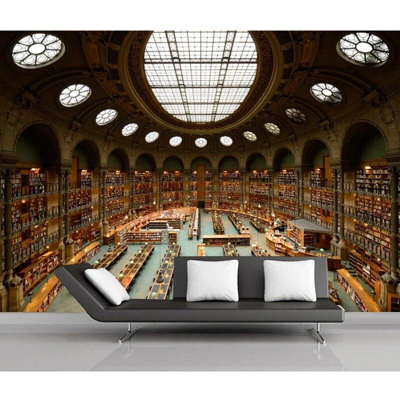 Vließ Fototapete Tapete Wandbild Photo Wallpaper Mural Bibliothek mit vielen Büc