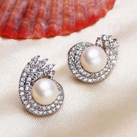 Freshwater Pearl Stud Earring Jewelry For Men Silver Color Plated Natural Micro Pave Cubic Zirconia White
