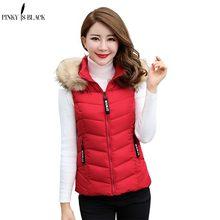 PinkyIsBlack 2018 Women Winter Vest Waistcoat New Short Sleeveless Jacket Fur Hooded Down Cotton Warm Female
