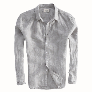 Image 5 - 2019 ניו הגעה גברים אופנה פס פשתן חולצה זכר מזדמן ארוך שרוול למעלה איכות נוזל Slim Fit חולצה בסיסית יבוא בגדים
