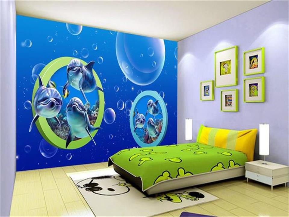 custom 3d photo wallpaper mural kids room dolphin parade 3d painting sofa TV background wallpaper for wall 3d non-woven sticker 3d photo wallpaper custom room mural non woven sticker retro style bookcase bookshelf painting sofa tv background wall wallpaper
