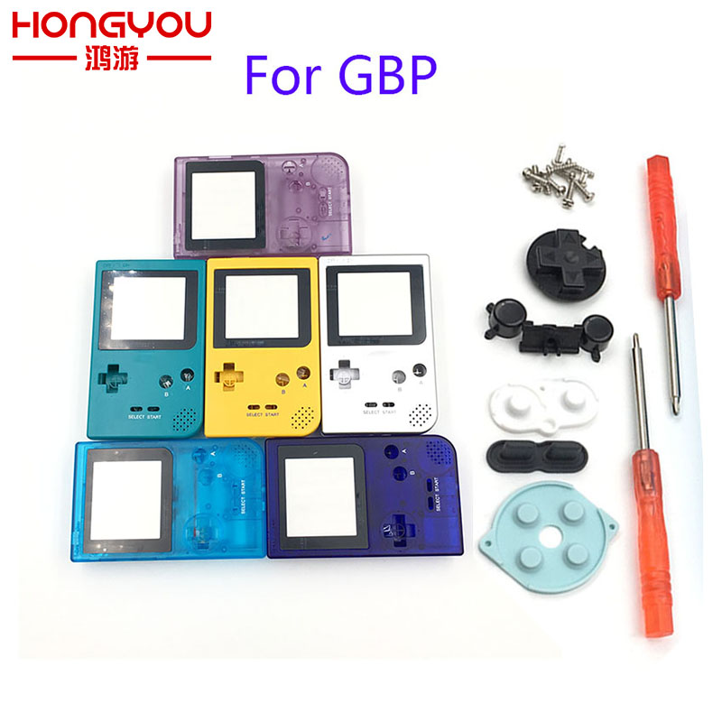 Full Case Cover Housing Shell Replacement for Gameboy Pocket Game Console for GBP grey Shell Case with Buttons Kit