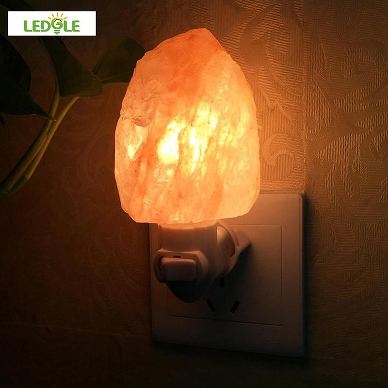 LEDGLE 10W EU US UK Plug Rotatable Cylinder Himalayan Salt Lamp Air Purifier Crystal Salt Rock Bedside Night Light For Bedroom