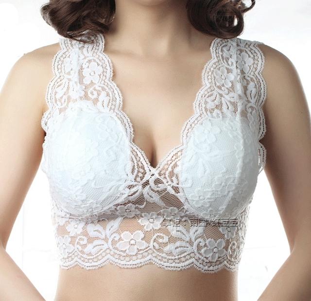 2017 Novo E Confortável bras mulheres plus size sutiã sem fio copo cheio sexy rendas colete projeto dormir underwears das mulheres magras
