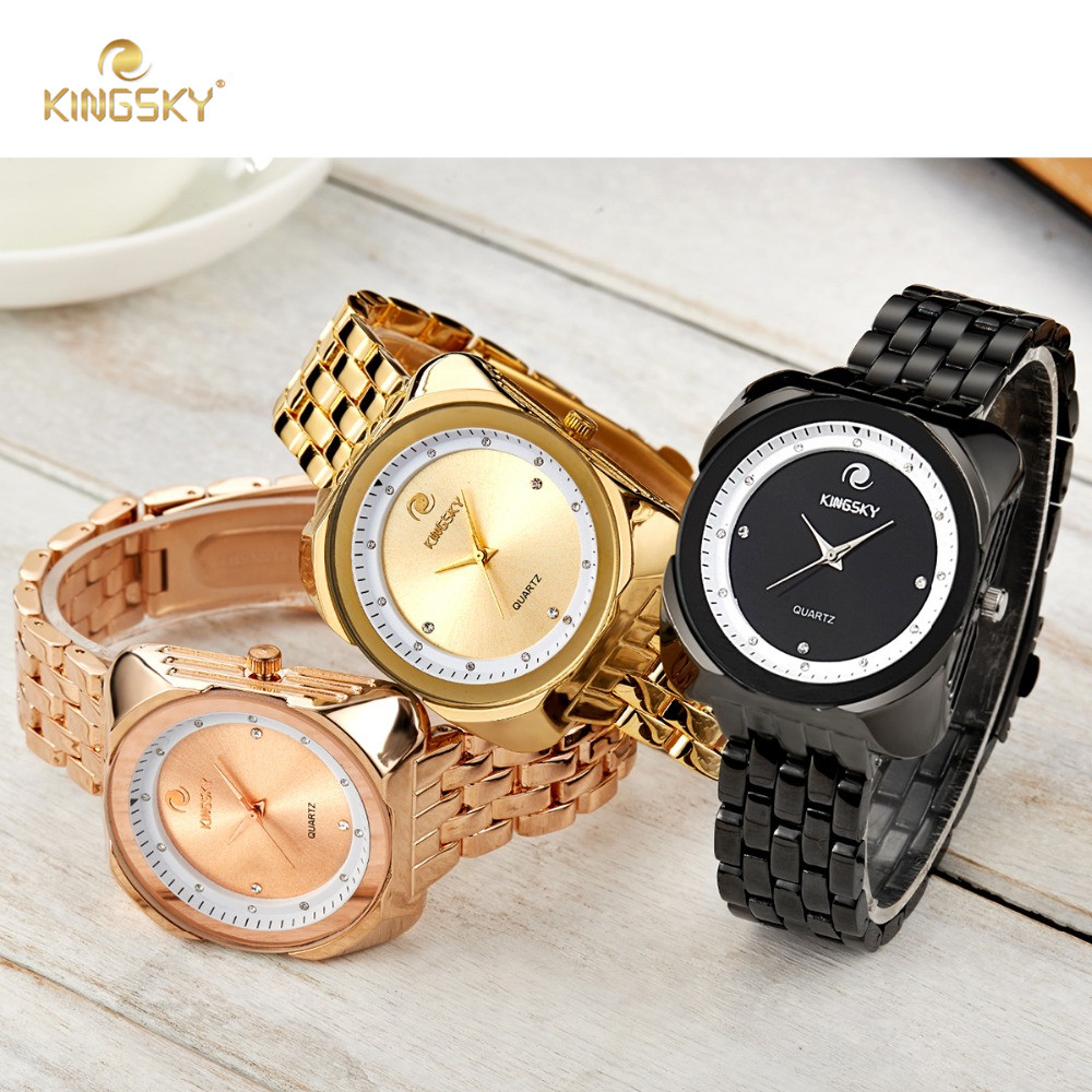 f223508fb New Design KINGSKY Rose Gold Women Watch Big Square Face Fashion Luxury  Analog Quartz Watches Ladies Dress Wristwatch-in Women's Watches from  Watches on ...