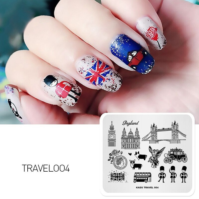 Rolabling 1pc 7cm8cm England Series Nail Art Stamp Plate Template