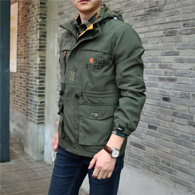 Spring Jacket Men Casual Plus Size 5XL 6XL Thin Hooded Waterproof Military Army Jackets Zipper Coat Multi Pocket Windbreaker Men