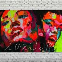 Palette knife obraz olejny portret Twarz Charakter rysunek na płótnie Ręcznie malowane Francoise Nielly wall Art picture 14