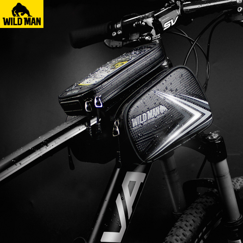 WILD MAN Bicycle Bag Waterproof Cycling Top Front Tube Frame Bag Large Capacity 4.7-6.3 Inch Touch Screen Cellphone Bike Bag