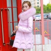 2017 meninas novas de algodão longa com capuz gola de pele Coreano fino grosso jaqueta casaco direto da fábrica