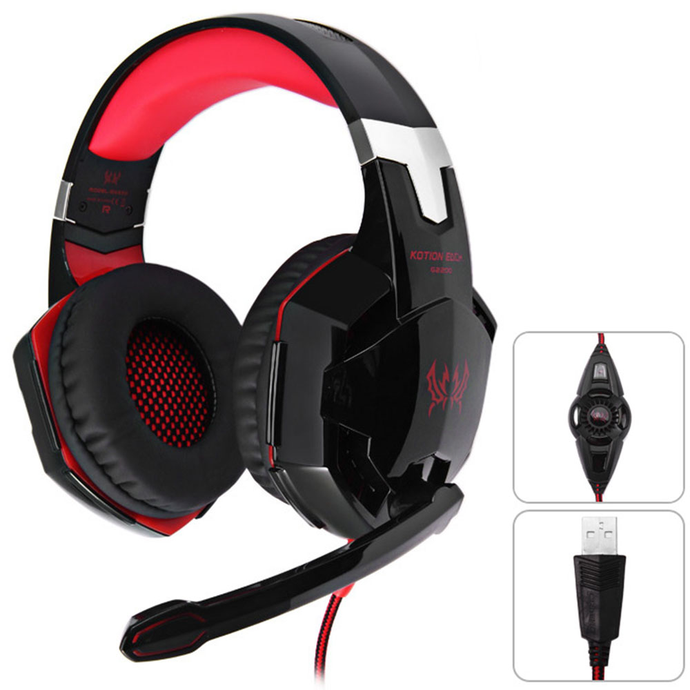 KOTION EACH G2200 Gaming Headphone 7.1 Surround USB Vibration Game Headset Headband Headphone with Mic LED Light for PC Gamer
