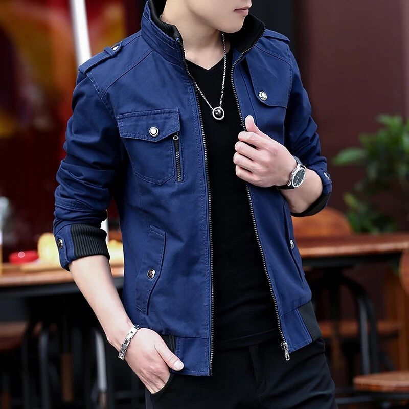 Cargo Jacket Man Casual Men Jackets Army Green Slim Brand Work Jackets Cotton Outerdoors Solid Color Overcoat Veste Homme 214