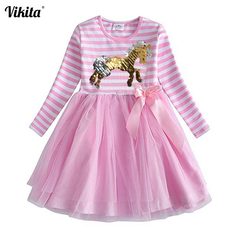 VIKITA Girls Dress Sequined Girls Unicorn Dresses Kids Princess Tutu Dress Children Cartoon Sequins Toddlers Dresses LH4574 vikita brand new girl dresses 100% cotton girls butterfly cartoon dress toddlers summer short sleeve patchwork dresses sh4554