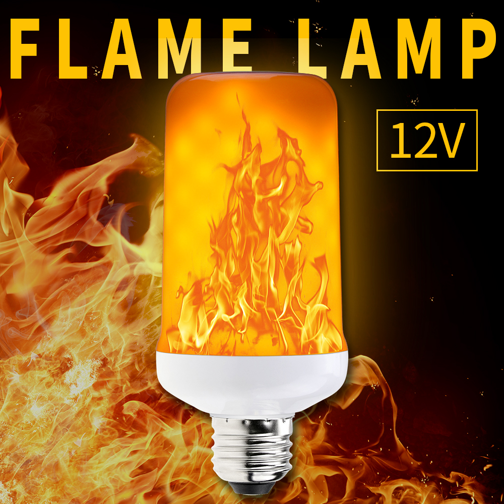<font><b>DC</b></font> <font><b>12V</b></font> <font><b>E27</b></font> E14 Flame LED Lamps Flame Effect Bulb Two Modes 99leds E26 fire Lights Simulation Flame flicker SMD2835 Free shipping image