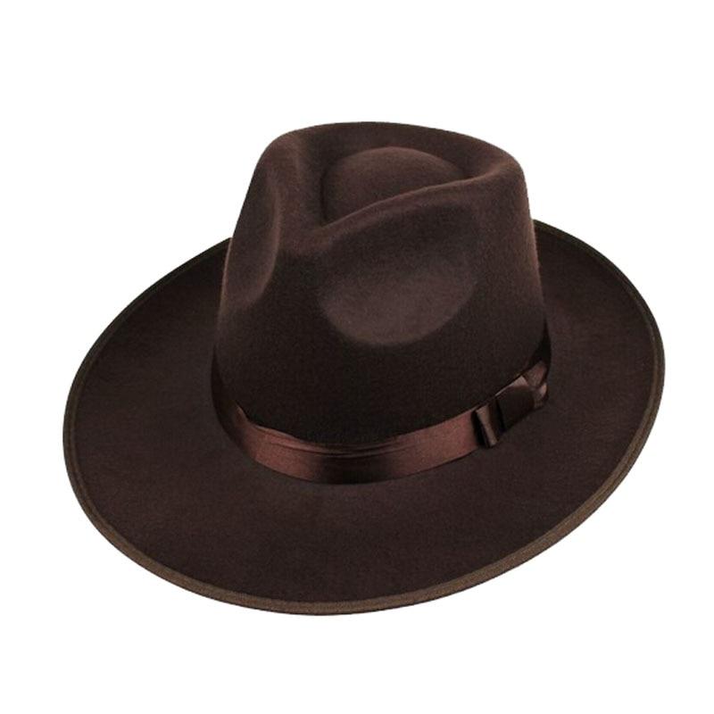 d46a422ccc2fce Aliexpress.com : Buy FS Unisex Black Gray Brown Wool Wide Brim Felt Fedora  Hat For Men Godfather Jazz Cap Women Autumn Winter Trilby Bowler Hats from  ...
