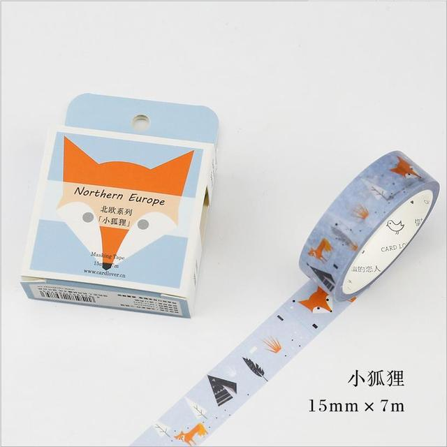 15mm * 7 m series Nordic fox Scotch Animais Fita Washi Decorativo DIY Scrapbooking Mascaramento Fita Adesiva Escritório Escola fitas 02489