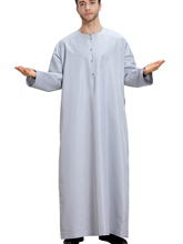 Arabic Mens Abaya Solid Kaftan Muslim Ethnic Thobe with Pockets