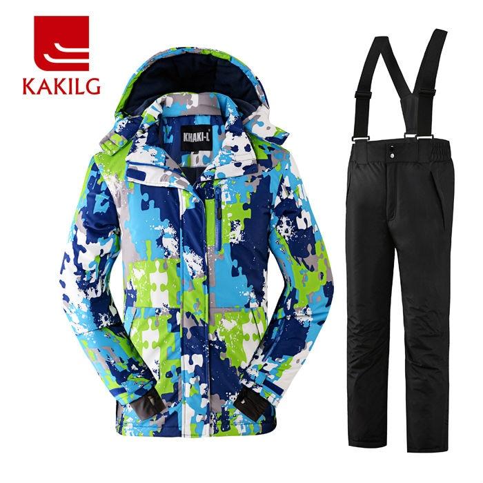 ФОТО Waterproof Boys Ski Jacket and Pants Windproof Ski Suit Winter Clothes 30 Degree Below Zero KL-7083