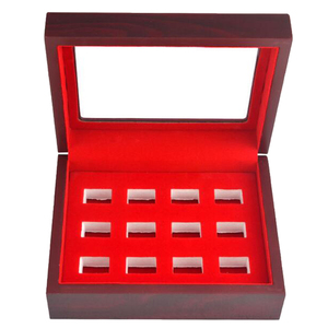 Image 2 - MagiDeal Wooden Box Glass Lid 12 Hole Slot for Sports Fans Athlete Championship Ring Red Interior Antique Collection