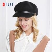 2018winter Woolen Hats for Women's Military Caps Autumn Wool Beret Painter Hat Rivet Belt Decoration Octagonal Cap Newsboy Hat