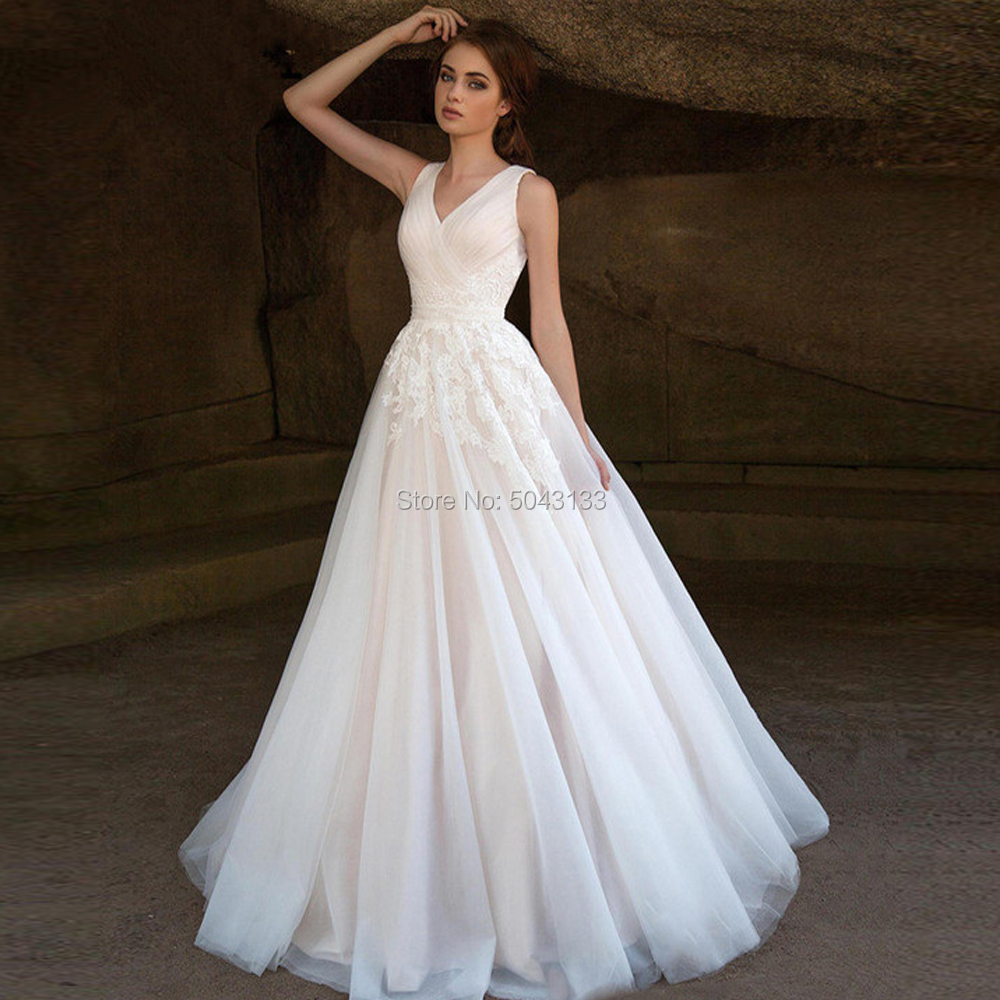 Elegant Tulle Wedding Dresses With Appliques 2019 Vestido De Noiva V Neck Sleeveless Wedding Bridal Gowns Beach Bride Dress