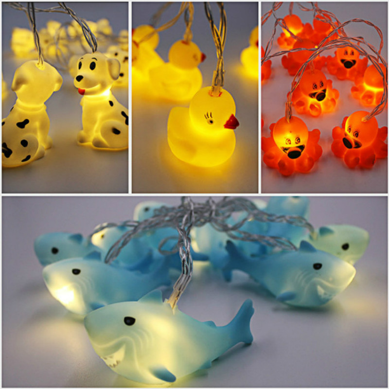 Cute Animal String Light Duck Octopus Dolphin Puppy 10 LED Battery Powered Home Party Xmas Decoration Night Lamp Christmas Gift