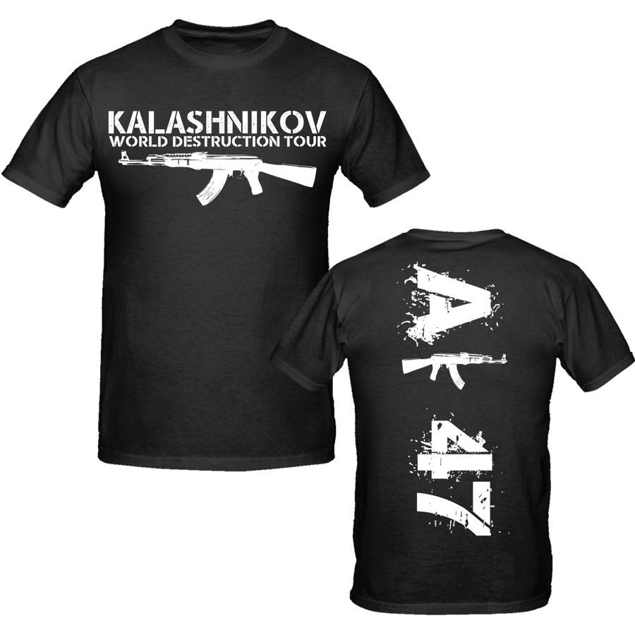 Men 2018 0% Cotton Free Shipping  Sale Brand Clothing Tees Casual Male Ak 47 T Shirt S-Xxxl Weapons Military Tee Shirt