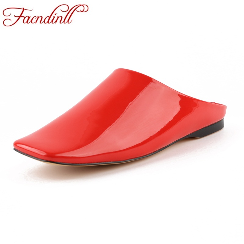 FACNDINLL women patent leather sandals shoes fashion high qulaity black red white low heel open toe shoes woman casual sandals facndinll high qulaity women pumps shoes