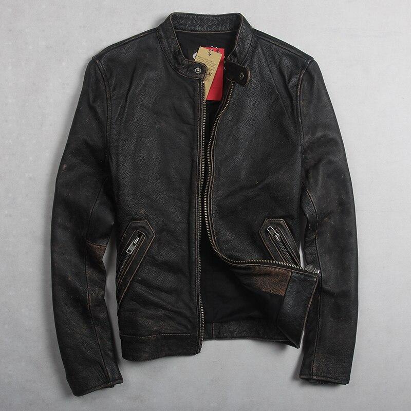 2017 Neue Mode Vintage Echtem Leder Jacke Männer Schwarz Rindsleder Kurze Einfache Motorradjacke Männer Slim Fit Ledermantel