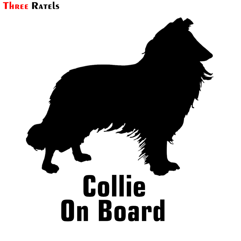 Three Ratels TZ-1198 16.3*15cm 1-4 Pieces Border Collie On Board Car Sticker Funny Car Stickers Auto Decals Removable