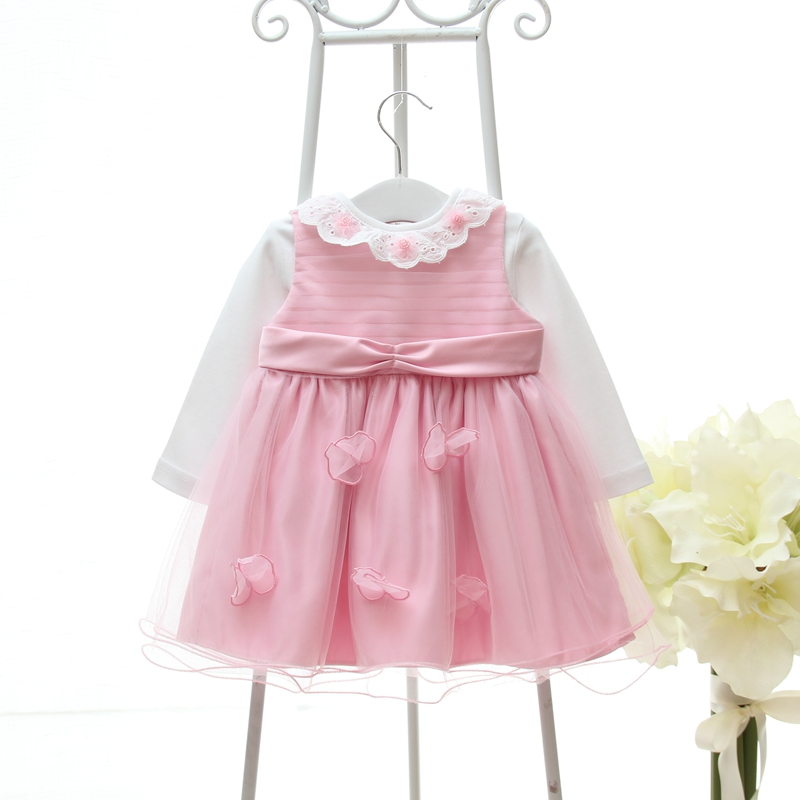 2017 Newborn baby Kids Pink Princess Lovely Childrens Party Dresses For Baby Flowers Bow Tie Girl Dress Wedding Formal Dress