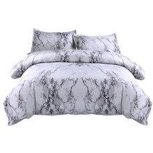 Simple Marble ผ้าปูที่นอนชุดผ้านวมผ้านวม TWIN King ขนาดหมอนกรณีเตียงคู่ผ้าคลุมเตียงนุ่ม