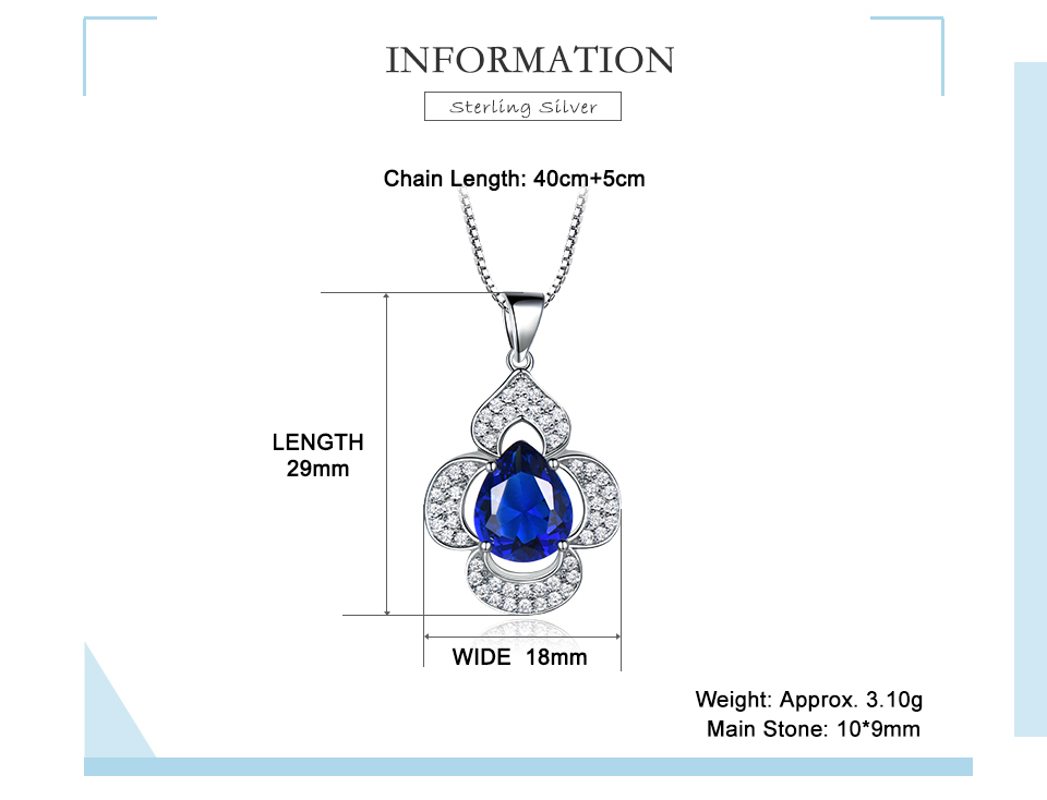 UMCHO-Blue Sapphire 925 sterling silver necklace for women EUJ090S-1 (2)