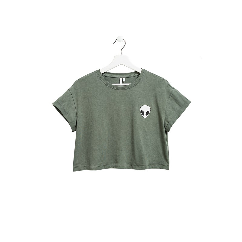 T Shirts befree 1821425417 cotton shirt short sleeve women clothes apparel for female TmallFS army green crossed front design v neck short sleeves t shirts