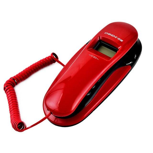 Мода Caller ID Стационарный Настенный Телефон Крюк Небольшой Отель Портативные Телефоны Для Дома Бизнес Красный