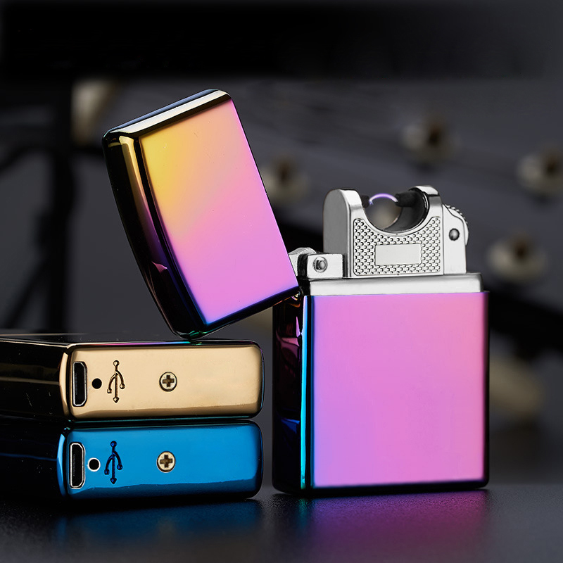Electronic-Cigarette-lighter-Pulsed-Arc-Slim-Windproof-cigar-Lighter-USB-Rechargeable-Flameless-Electric-Arc-Smoking-Lighter