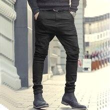 بنطلون جينز رجالي أسود ربيعي ضيق وسحّاب من الأسفل مطاطي جديد غير رسمي من القطن على الطراز الأوروبي بنطلون جينز للرجال K951
