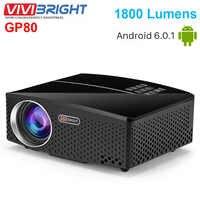 VIVIBRIGHT GP80 LCD Projectors 1800 Lumens HD Mini Portable Projector For Home Theater Cinema Support 1080P USB HDMI