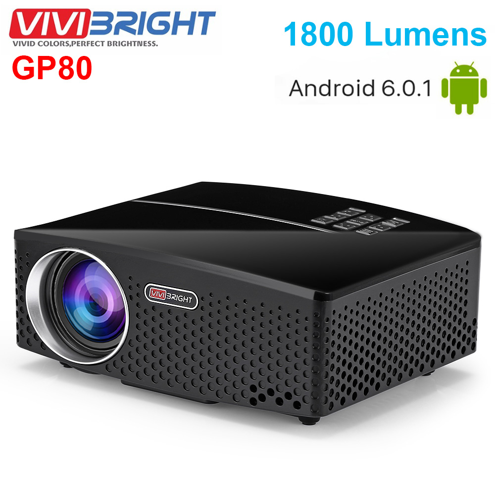VIVIBRIGHT GP80 Projects LED 1800 Lumens HD Mini Portable Projector For Home Theater Cinema Support 1080P USB HDMI projector hd 1080p mini portable support tf card durable for home cinema theater new sl 88