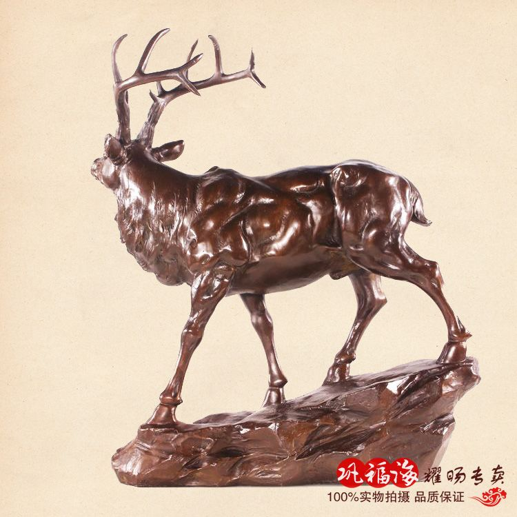 2016 Hause WOHNZIMMER Wand TOP Decor 37 CM Deer KUNST Bronze Statue Skulptur Dekoration