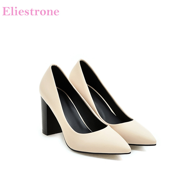 Hot Sale Brand New Glamour Beige Brown Women Dress Pumps Black Square Heels Lady Casual Shoes AC357 Plus Big Size 4 10 33 43