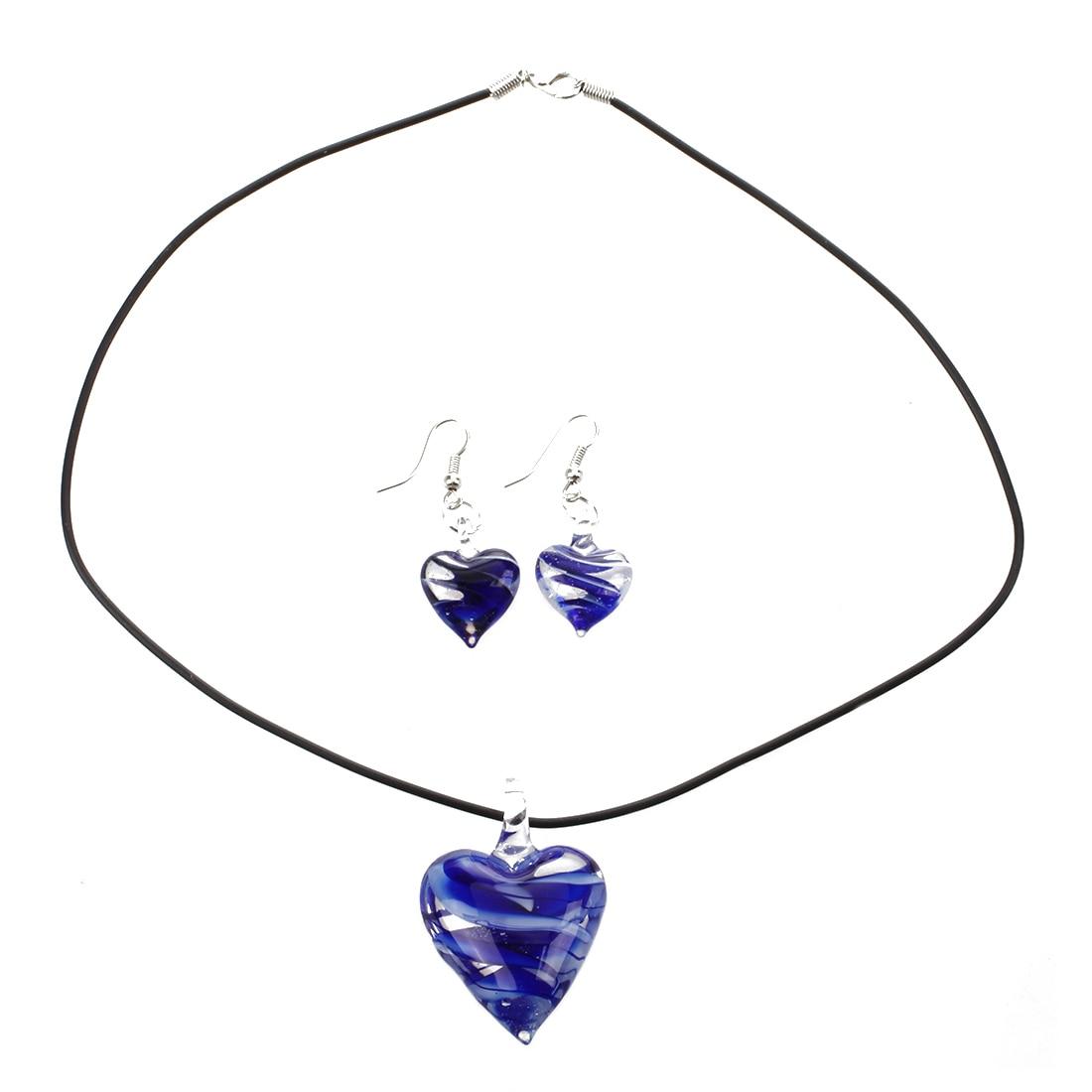 Set Murano Glass Heart Necklace + Earring
