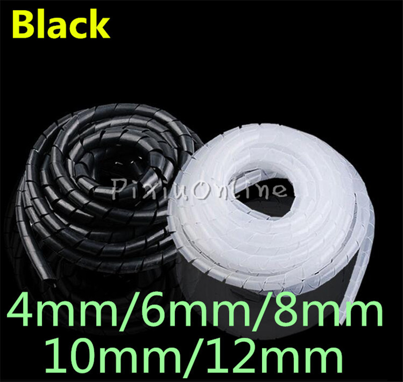 1bag Black PE YL692 4mm 6mm 8mm 10mm 12mm Feet Spiral Wire Organizer Wrapping Tube Flexible Manage Cord Hiding Cable Sleeves 6m 20ft long 12mm wire spiral wrap wrapping sleeving band cable black white x 2