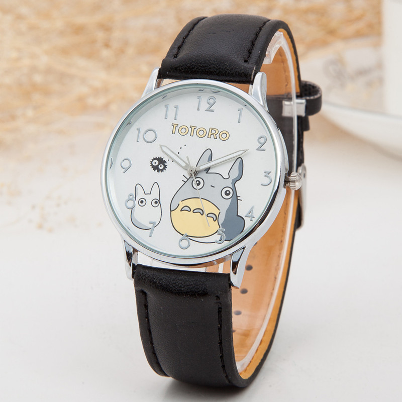 Cute Totoro Pattern Cartoon Watches Women Fashion PU Leather Strap Quartz Watch  Luxury Brand Ladies Wristwatch Relojes Clock fabra women cute cartoon pu leather