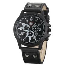 Militar de la vendimia Masculina Impermeable de Los Relojes Reloj de Los Hombres Correa de Cuero Fecha Hora Reloj Ejército Deportivo Reloj de pulsera de Cuarzo Relojes Hombre