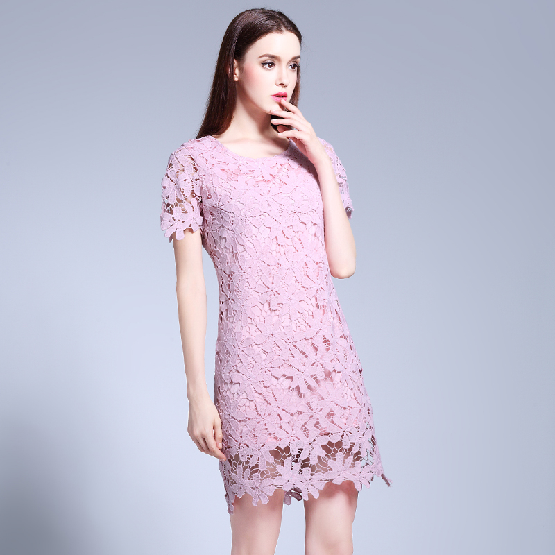 Musenda más tamaño mujeres Slim Hollow out LACE corto vestido rosa ...